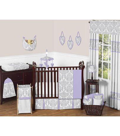 Sweet Jojo Designs Lavender and Gray Elizabeth Collection 11-Piece Crib Bedding Set