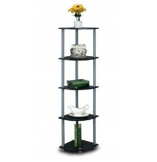 Corner Display Rack Shelves Shelf Shelving Unit Black Gray Knick Knacks 5 Tier Furinno Furinno