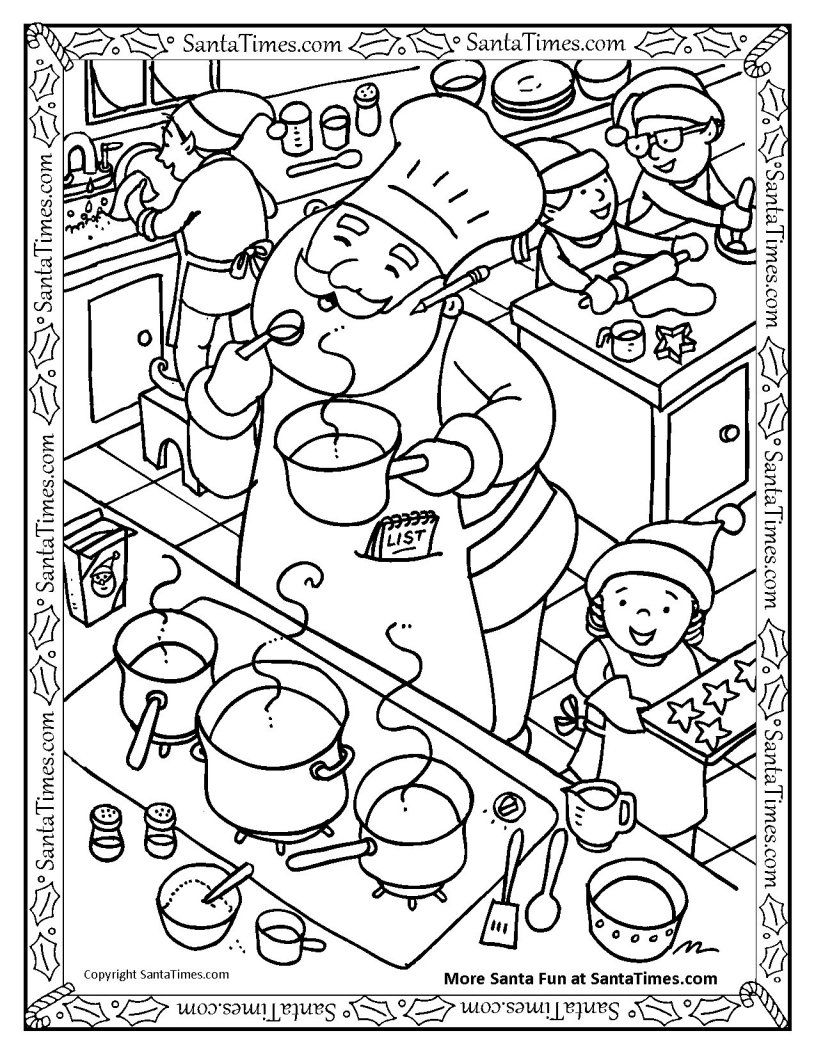 Santa Is Cooking Something Yummy Christmas Coloring Pages Coloring Books Coloring Pages