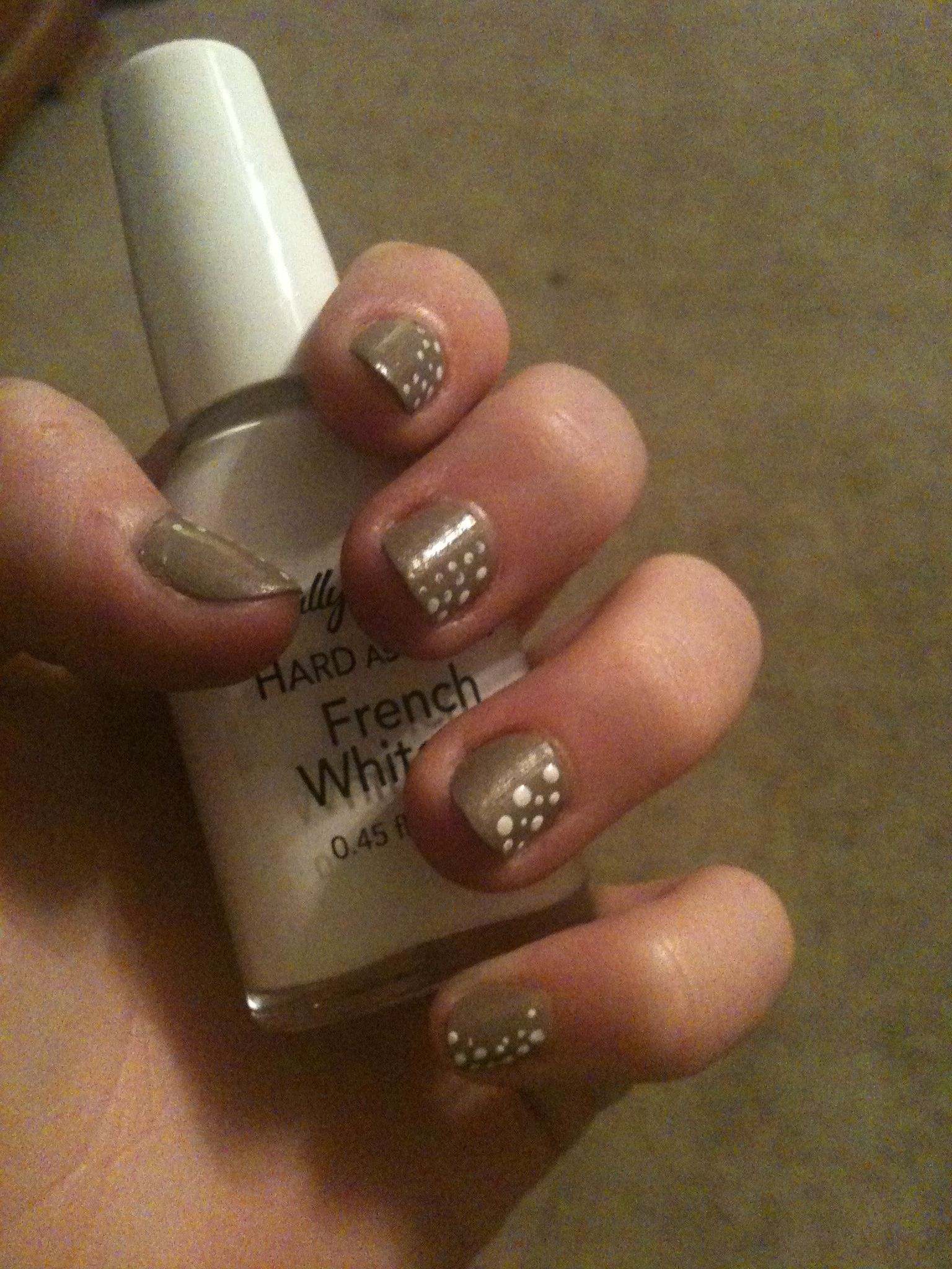 Gold-ish gray with little white dots   Nails!   Nails, Fun