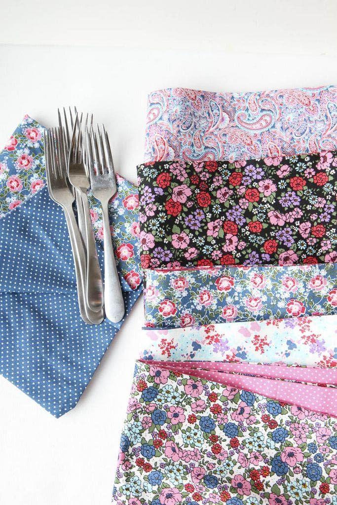 DIY No-Sew Reversible Cloth Napkins #clothnapkins