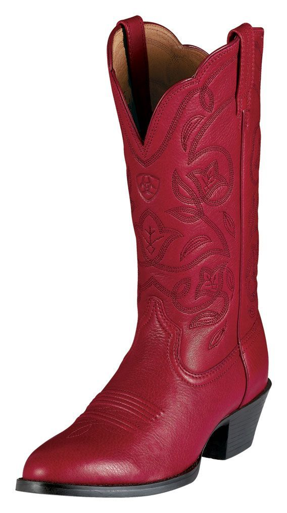 Excellent Womenu0026#39;s Cowboy Boots In Red And Black Leather With Inlay