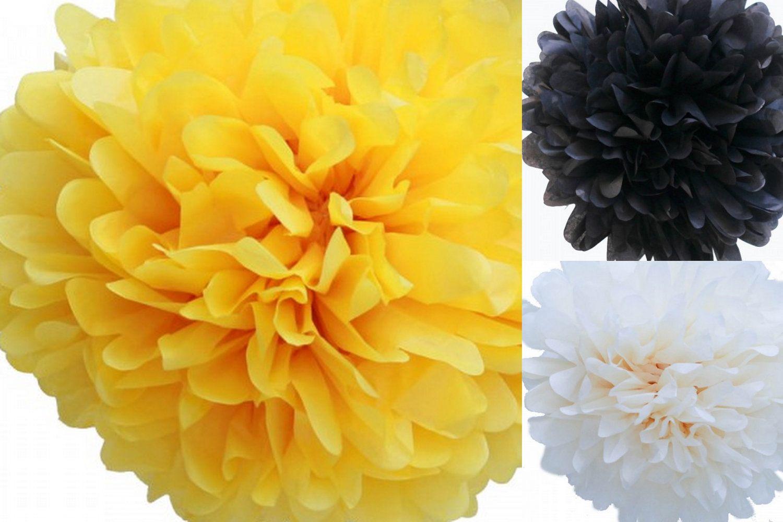 Tissue Pom Pom Flowers In Large Flower Pots Centerpiece Yellow Tissue Paper Paper Flower Ball Paper Pom Pom