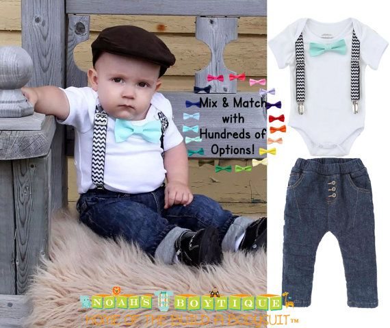 c9720f707f2b8 Baby Boy Outfit - Black and Mint Baby Boy Clothes - Baby Boy Outfits - Black  Chevron Suspenders Mint Bow Tie - Hipster - Clothing Set