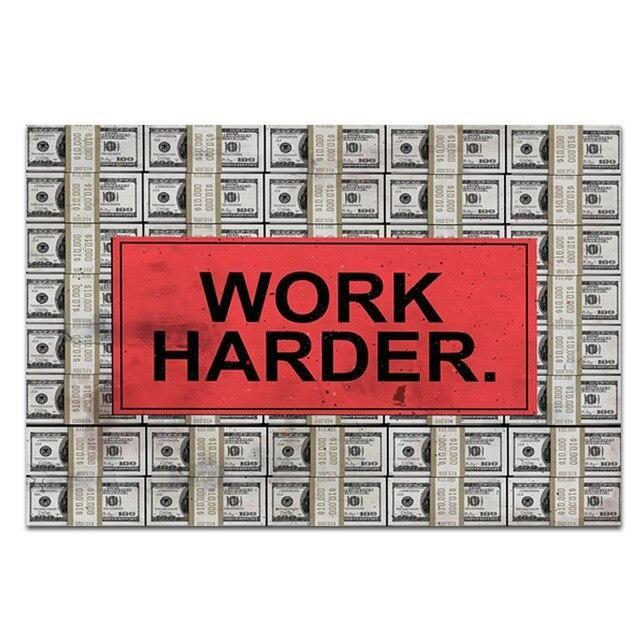 Photo of WANGART Zitat Arbeit härter Geld Ölgemälde Dollar Poster Leinwand Wandbilder für Wohnzimmer Poster und Drucke Wohnkultur – 30x40cm ohne Rahmen / jy1499