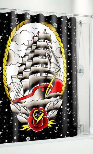 Last Port Tattoo Flash Shower Curtain By Sourpuss Octopus Shower