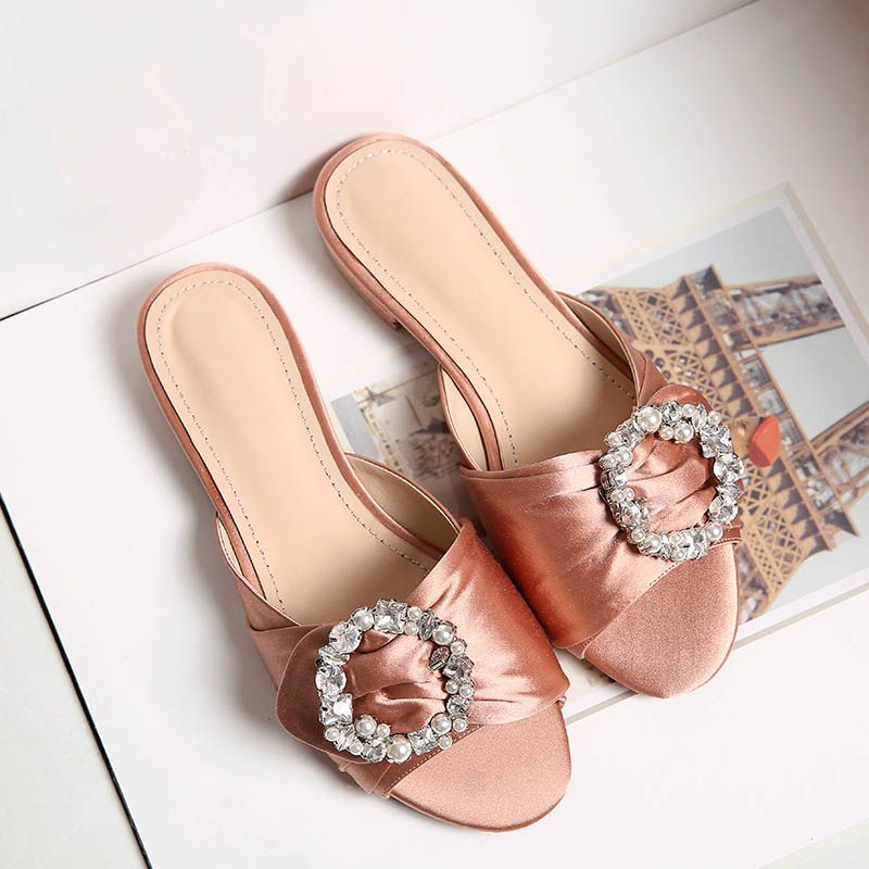 Woman Summer Sandals Dressy Rhinestone Glitter Flats Platform Wedges Shoes Flip Flops Indoor Youth Girls