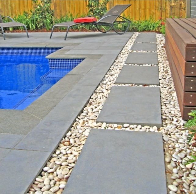 rectangular pool with limestone