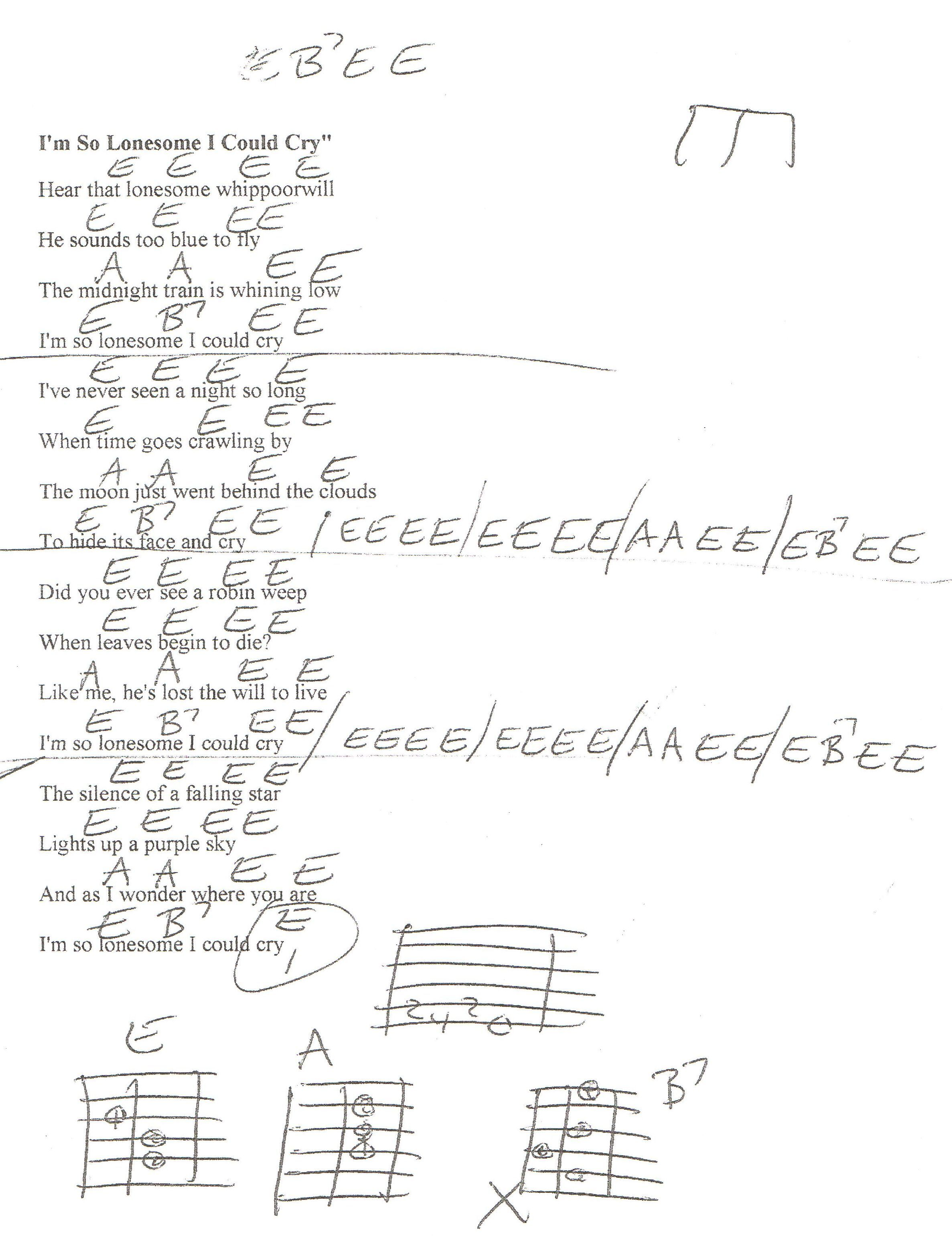 Im So Lonesome I Could Cry Hank Williams Guitar Chord Chart