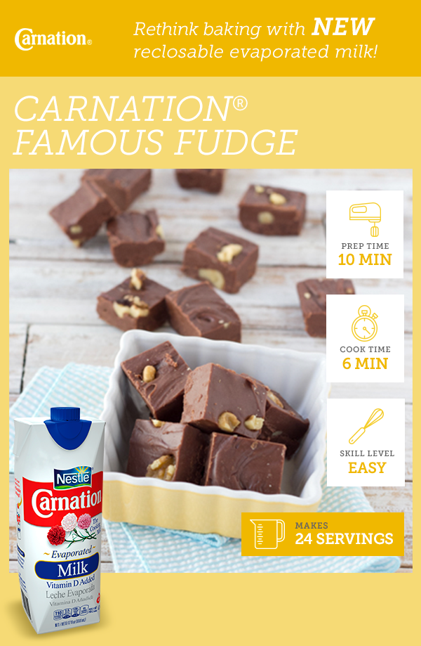 Carnation Milk S New Reclosable Evaporated Milk Packaging Makes Our Five Star Famous Fudge Recipe Even Easie Fudge Recipes Carnation Fudge Recipe Candy Recipes