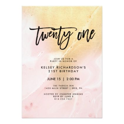 Blush Pink And Gold Marble 21st Birthday Party Invitation Zazzle Com 25th Birthday Parties 25th Birthday 25th Birthday Ideas For Her