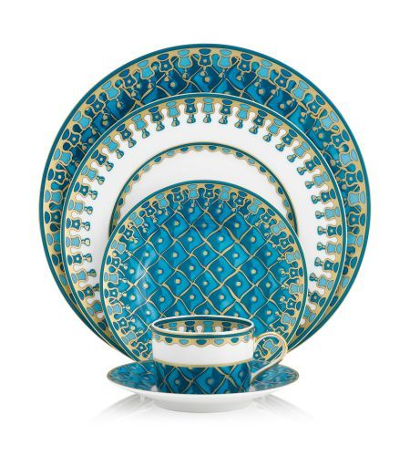 J. Seignolles   Petrouchka Turquoise Five Piece Place Setting