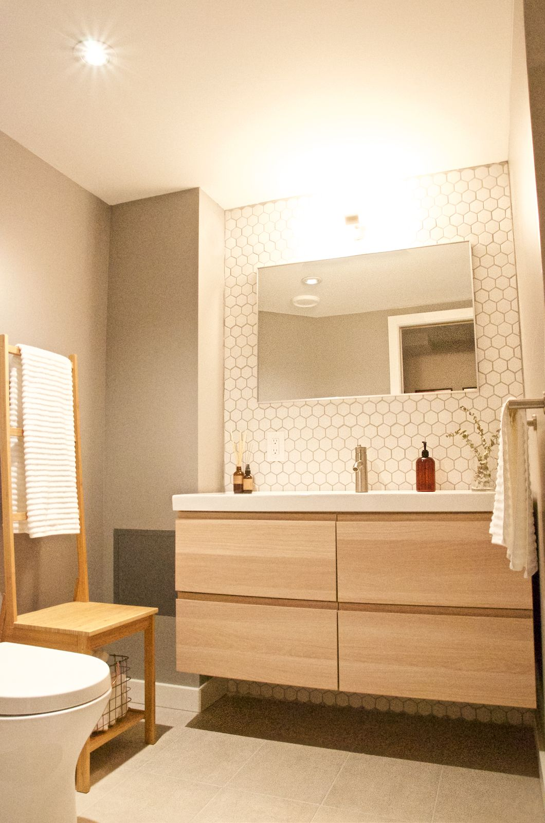 Etonnant Basement Guest Bathroom. IKEA Godmorgon Cabinet. Mirror From CB2. White  Matte Hexagon Tile Backsplash. Tags: Mcm, Mid Century Modern Bathroom
