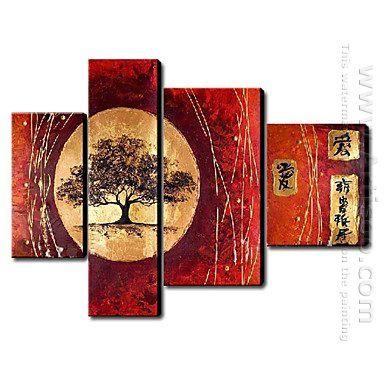 Hand Painted Oil Painting Landscape - Set of 4 1211-LS0228 -Canvas Sets