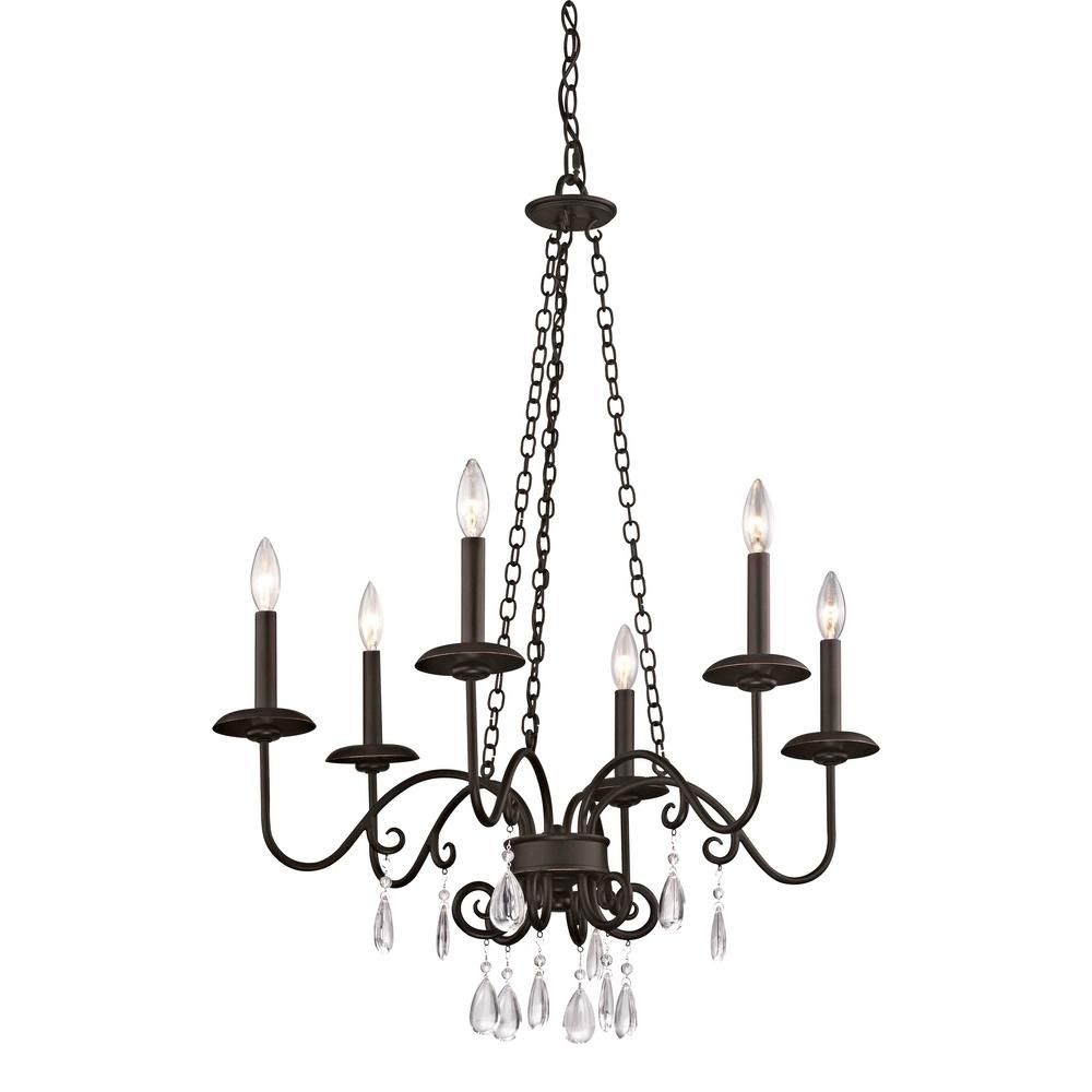 Fifth And Main Lighting La Rochelle 6 Light Cottage Bronze Chandelier With Crystal Accents