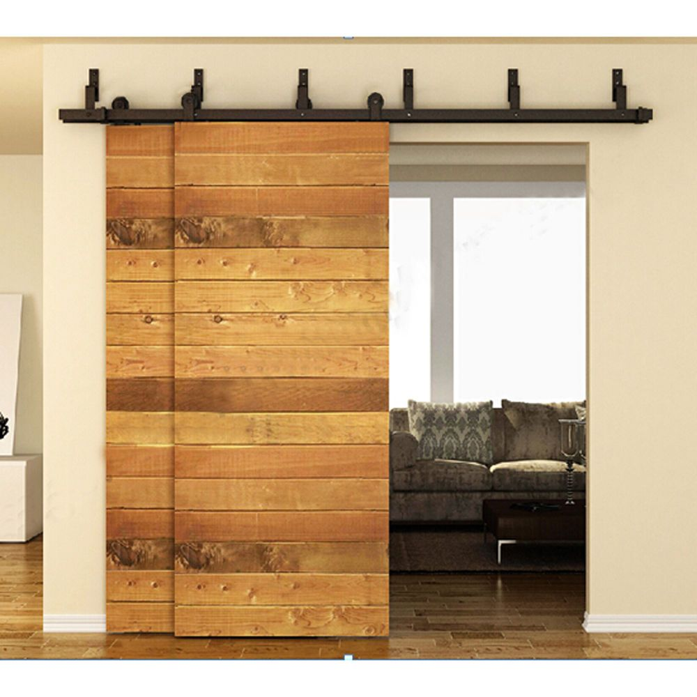 6 10ft Bypass Sliding Barn Double Door Hardware Closet Black Steel Kit Track Winsoonhardware Bypass Barn Door Hardware Bypass Barn Door Barn Doors Sliding
