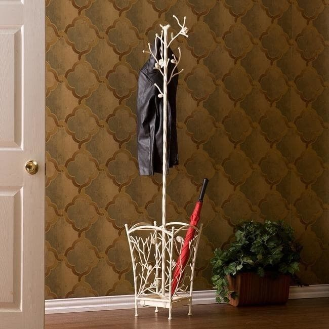 Abbey Antique White Hall Tree Coat Rack Umbrella Stand Rustic Stunning Coat Rack And Umbrella Stand Antique White