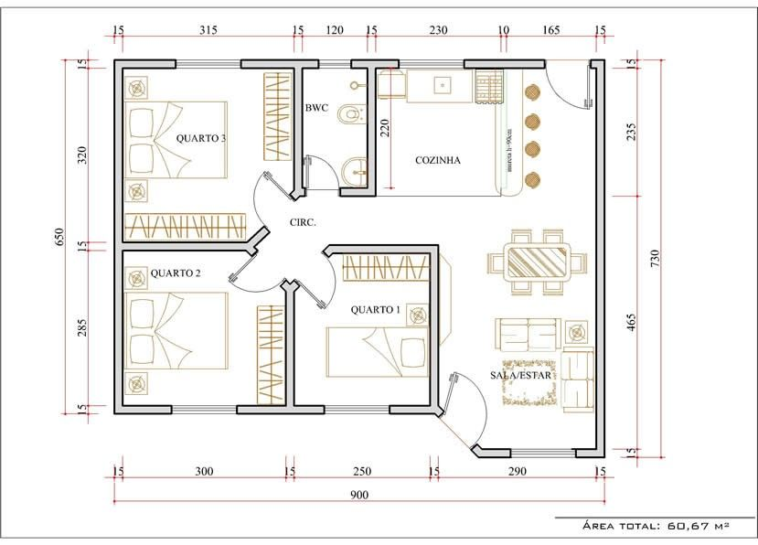 Modelos de plantas de casa 3 quartos realestate for Plantas de casas tipo 3