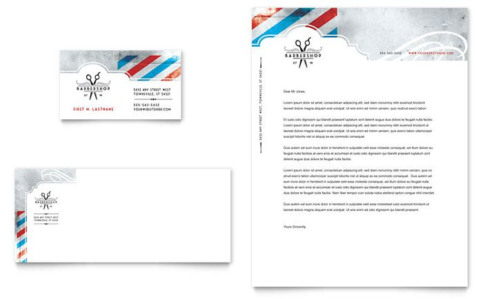 Barbershop Business Card And Letterhead Design Template By