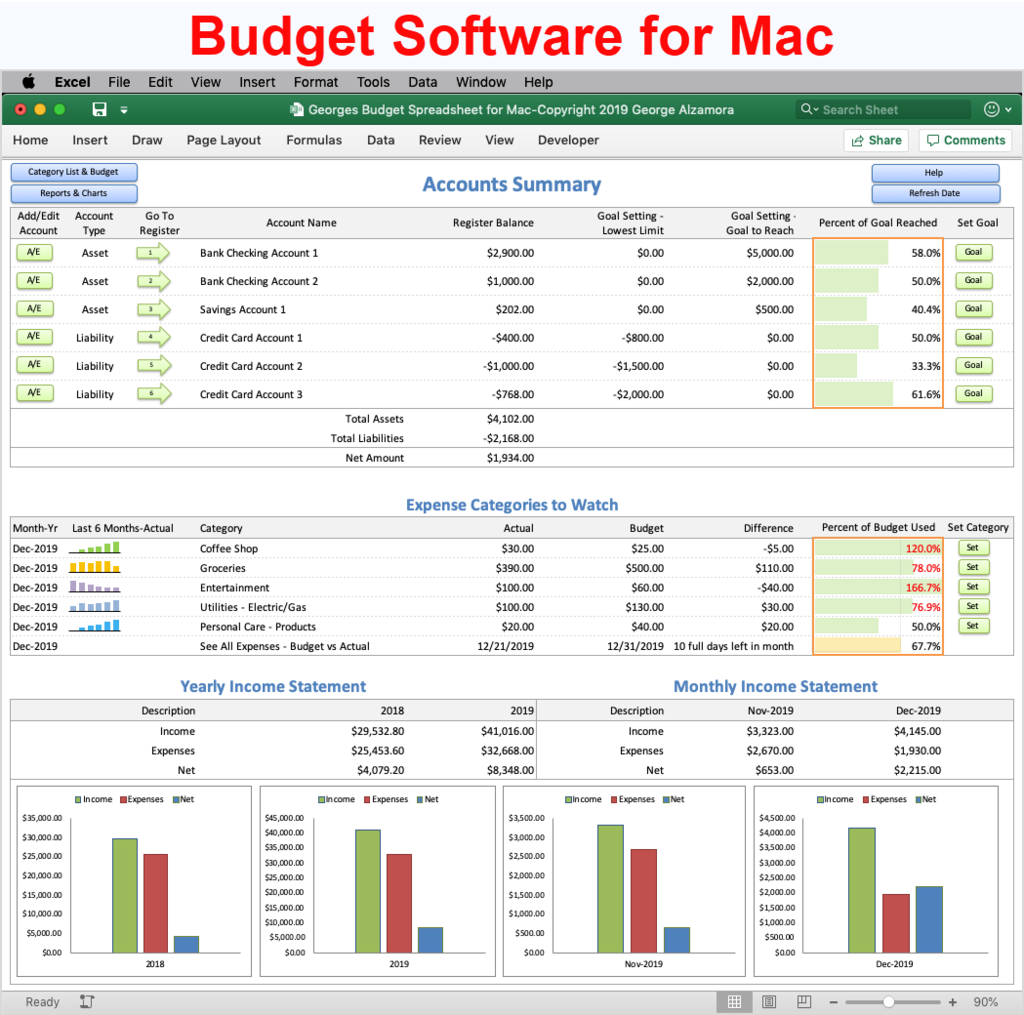 Georges Budget Spreadsheet For Mac V12 0