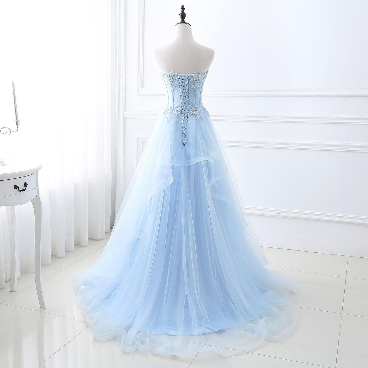 Sky blue appliques tulle crystals prom gownssweetheart neck a line