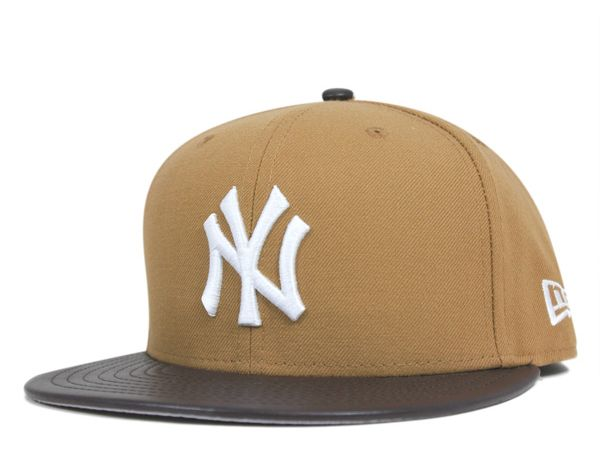 22d333c991b17 New York Yankees Wheat Leather Standard 59Fifty Fitted Baseball Cap ...