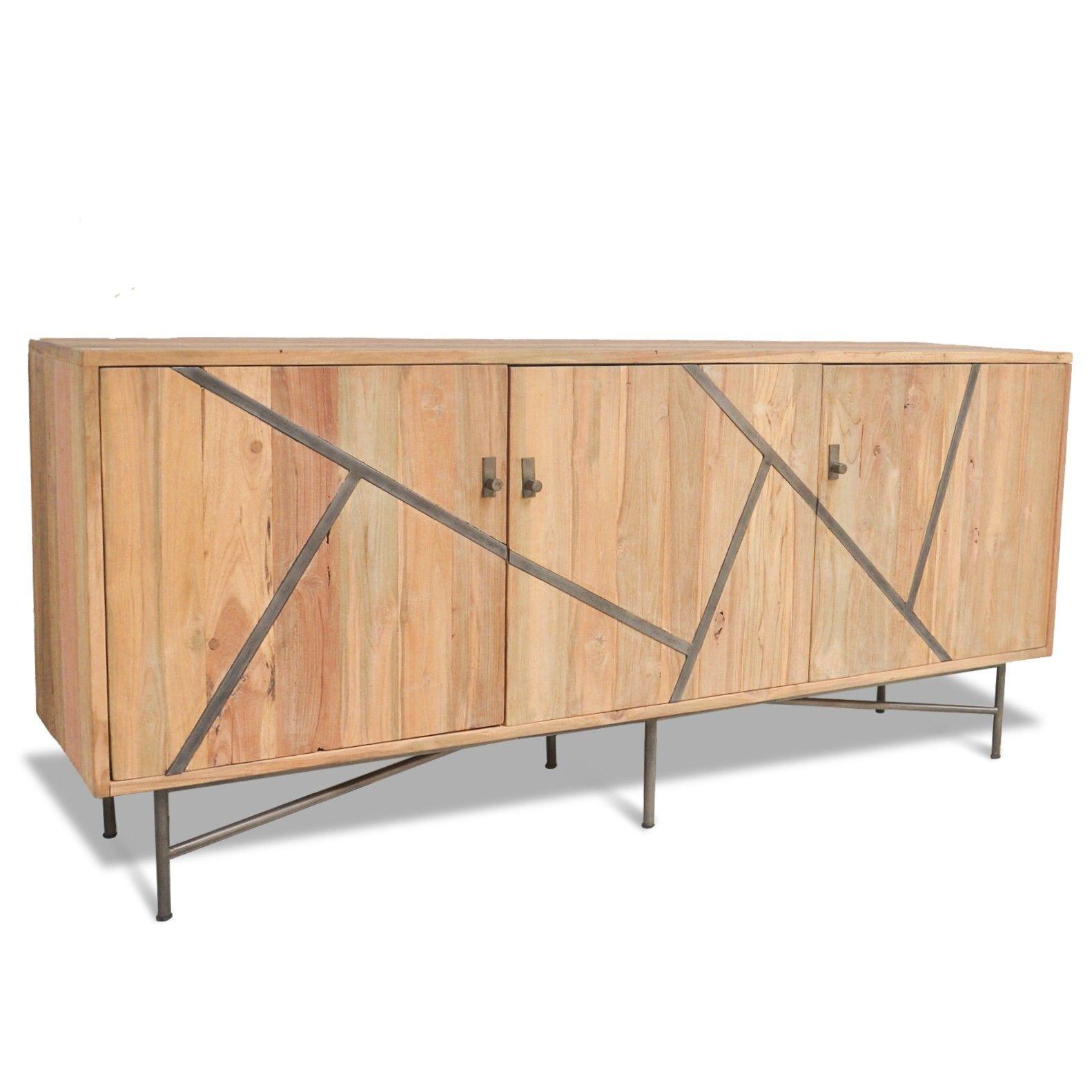 Elegant Et Pratique Bureau De Style Industriel Loft. Teck Recyclé Et Acier.  Un Meuble Chaleureux, Sain Et Durable.
