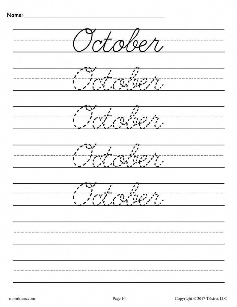 12 Free Months Of The Year Cursive Handwriting Worksheets Cursive Handwriting Worksheets Cursive Handwriting Learn Handwriting [ 1024 x 791 Pixel ]