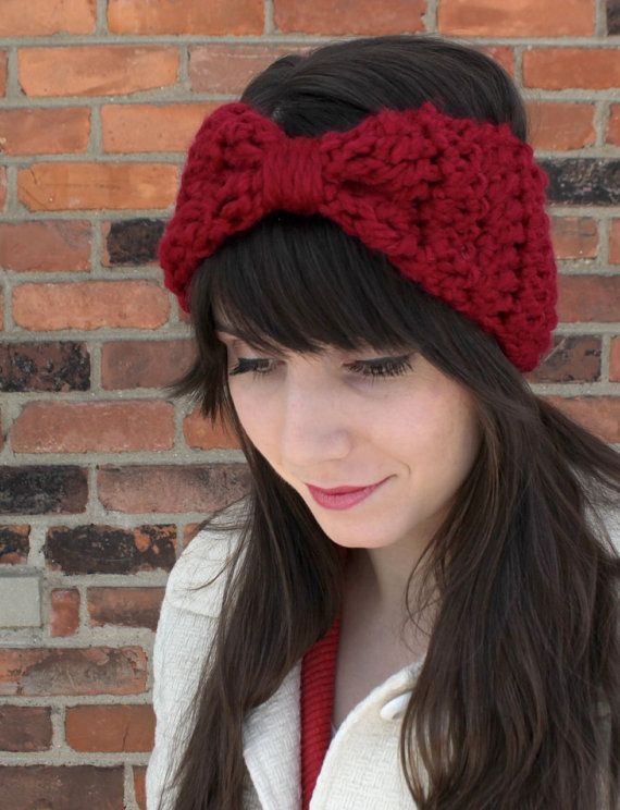 Crochet Big Bow Headband Earwarmers in Cranberry Red - Custom Order ...