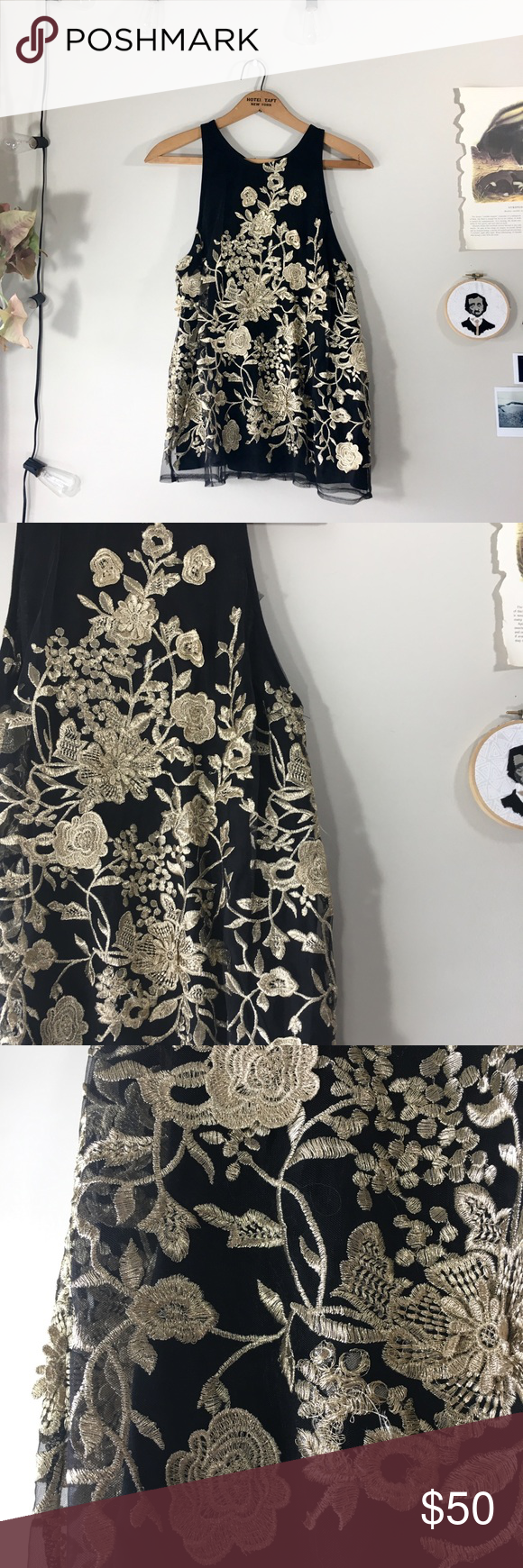 3fb60fcd2ab42d Anthropologie Sunday in Brooklyn gold floral top Anthropologie    Sunday in  Brooklyn Size small Black blouse with outer layer filled with gold  embroidered ...