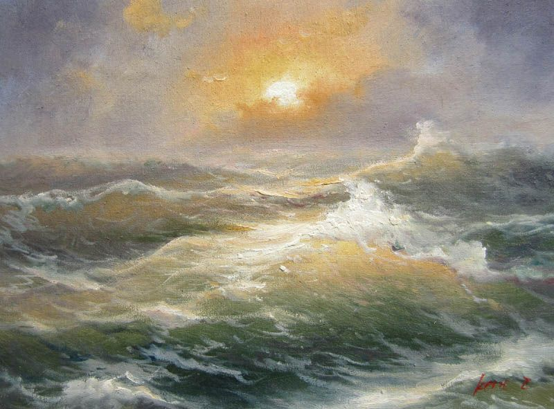 Hand Painted Impressionist Oil Painting Seascape Waves No24 Home Decoration Wall Art Free Shipping