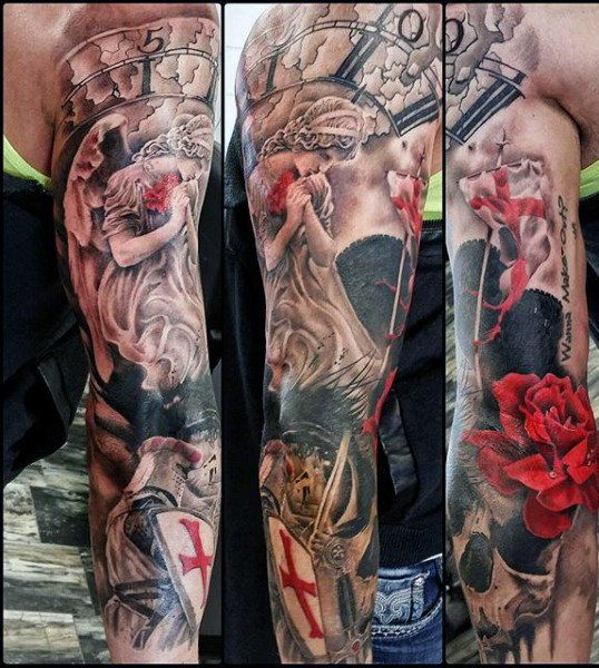 Male Middle Ages Knight Tattoos Full Sleeve