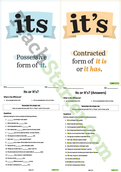 Its Or Its Poster And Worksheet Teaching Resource Writing