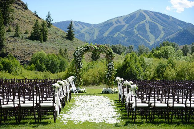 Lauren And Daniel Idaho Wedding Ceremony Venue With Sun Valley Mountains In The Back