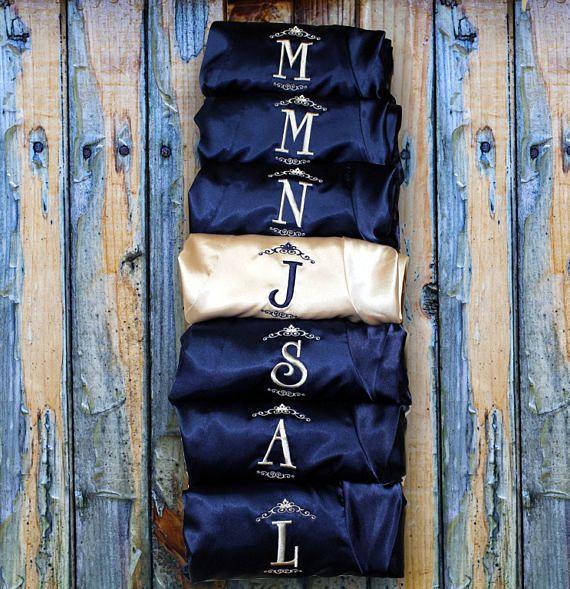Wedding Gift - Bridesmaid Robes - Personalized Embroidered Short Kimono  Waffle Weave Robe, Wedding Robe