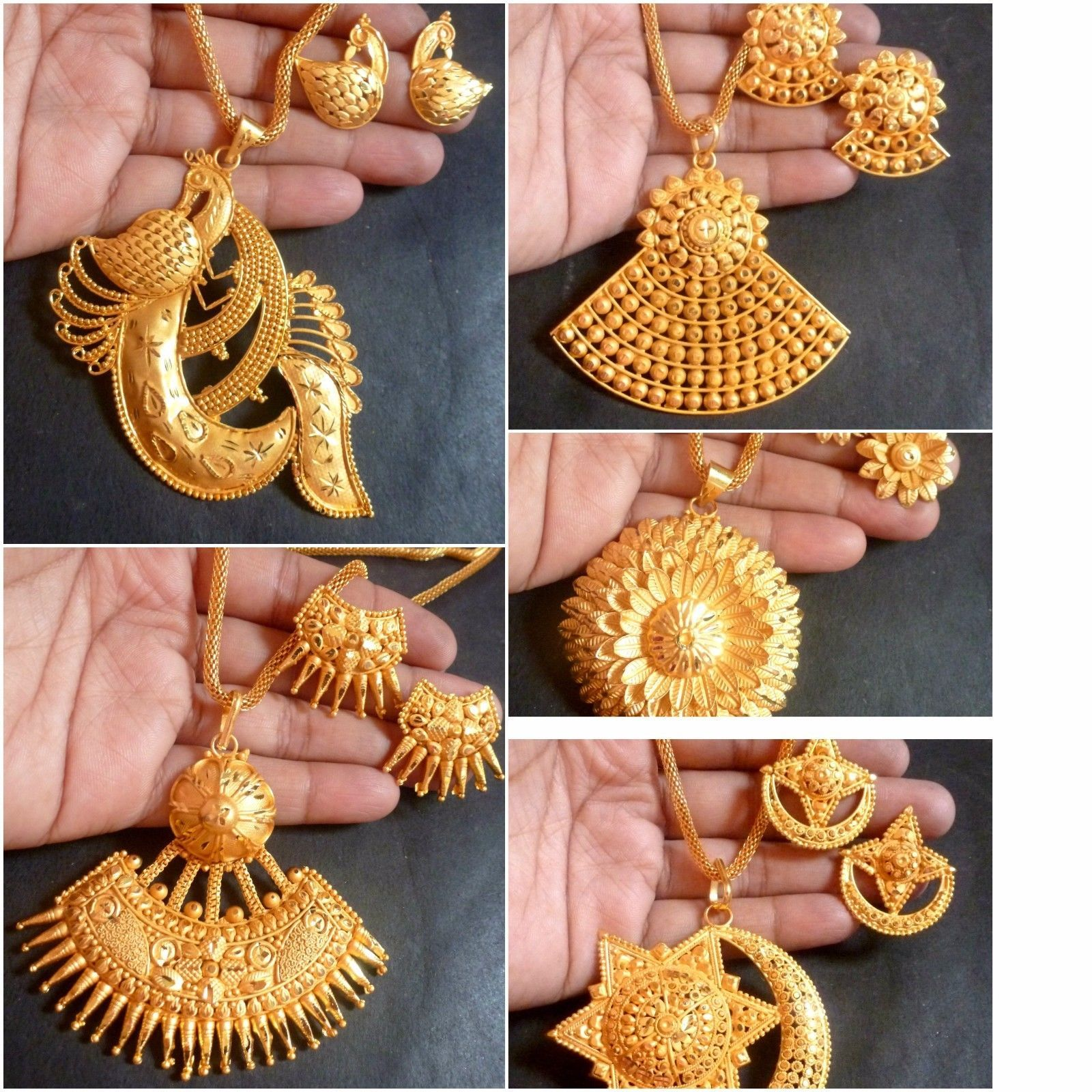 Indian 22k Gold Plated Bridal Necklace 8 Pendant Earrings
