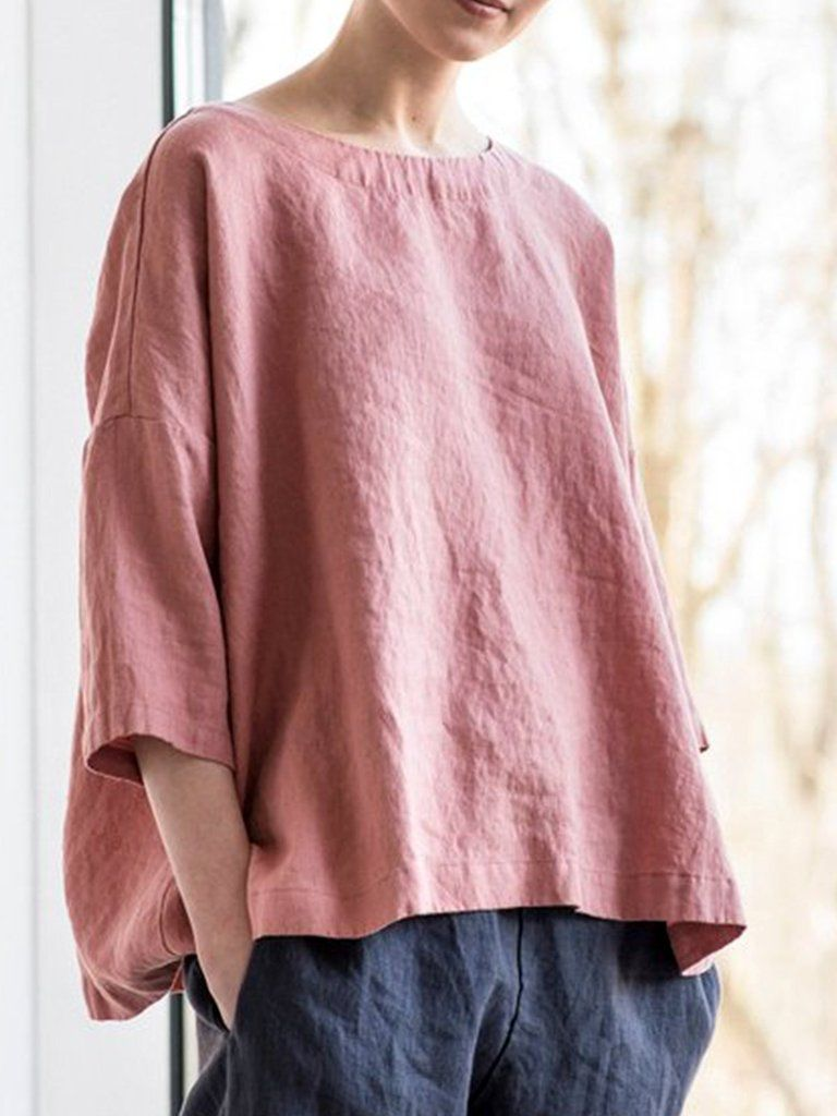 e5eabefcacce3f Solid Round Neck Casual Blouse Shirt in 2019