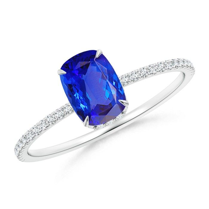 Angara Art Deco Inspired Cushion Tanzanite Ring with Diamond Halo in White Gold lzfZsAta