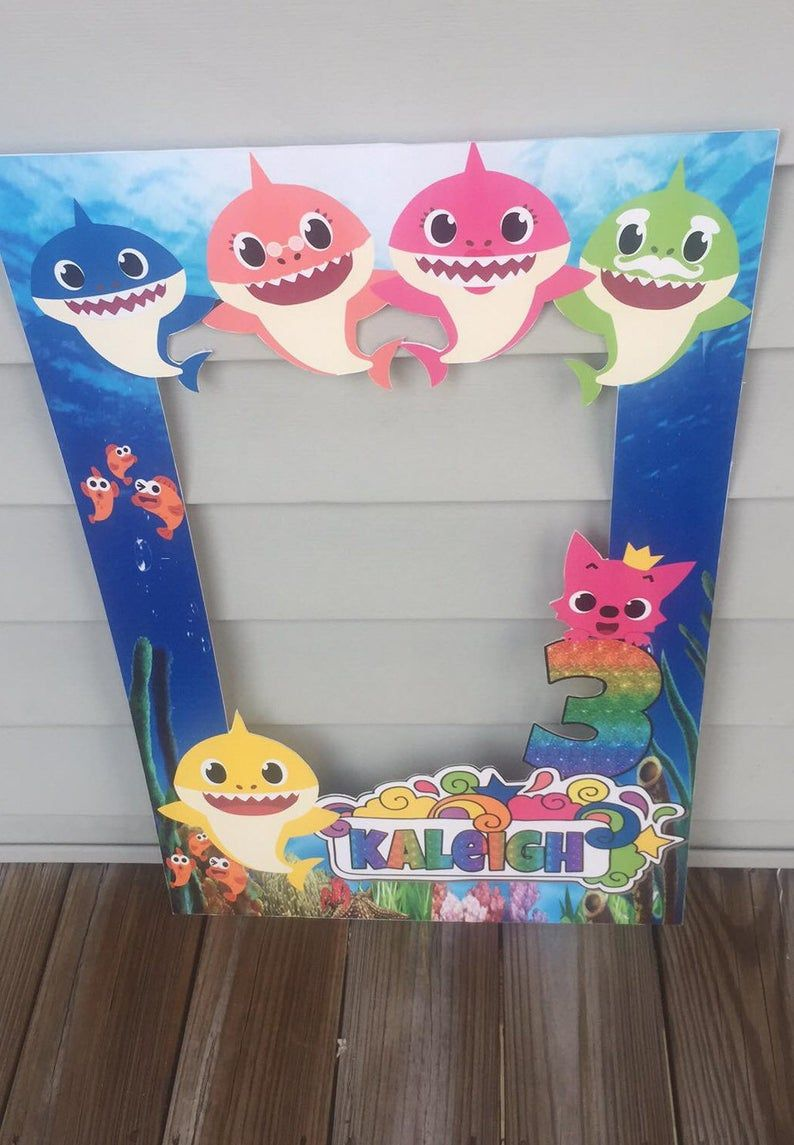 Baby Shark Photo Frame Prop, Baby Shark Party Decor in