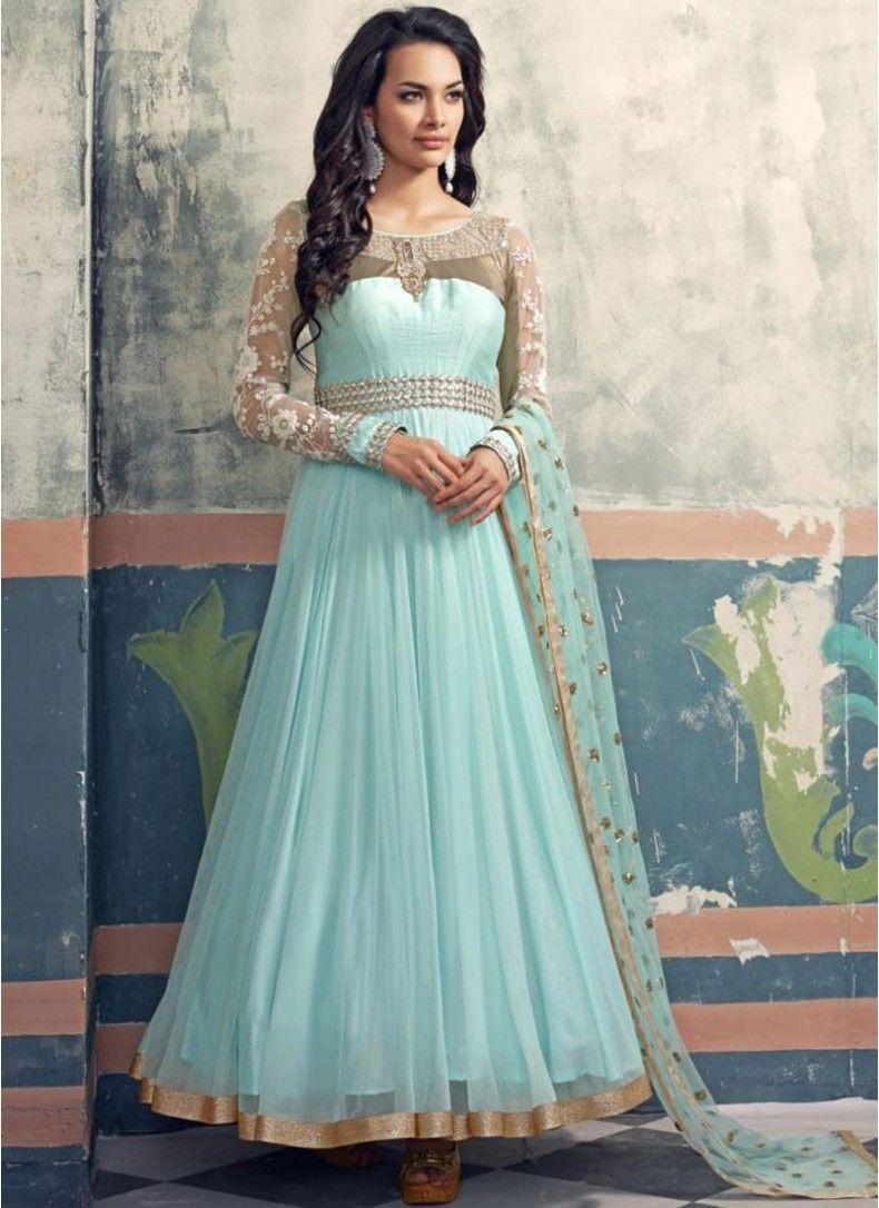 Modest Sky Blue Faux Georgette Designer Floor touch Anarkali suit ...