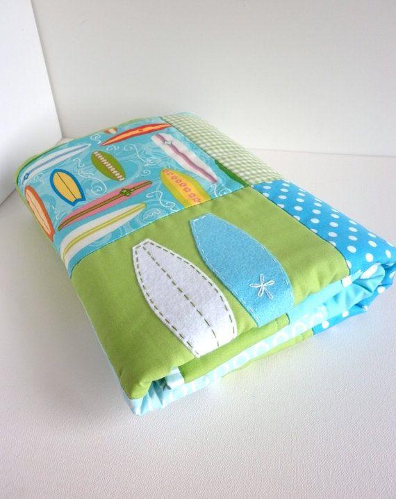 SURFBOARD Baby Boy Quilt and matching surfboard pillow cover in blue and green-ready to ship