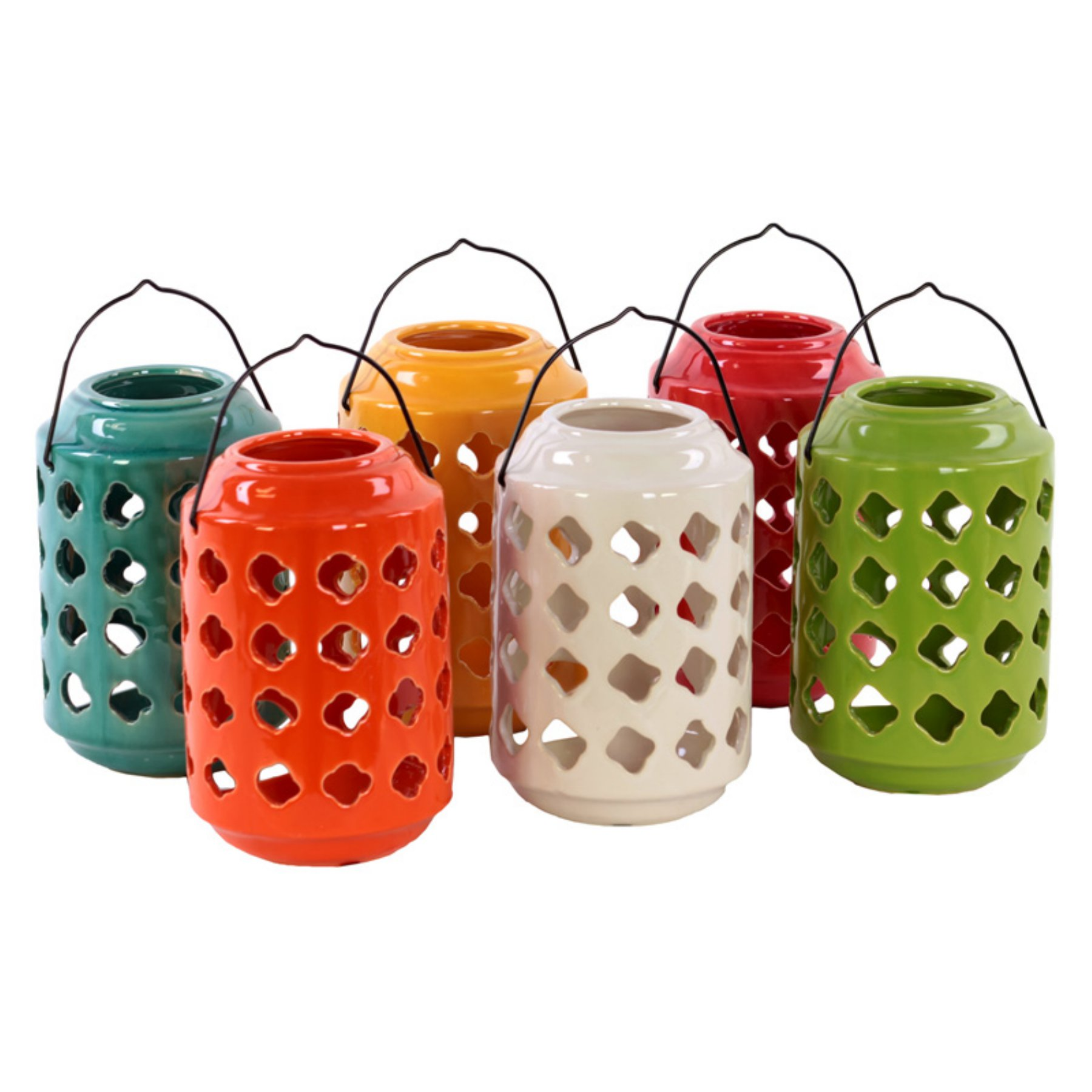 Benzara Large Ceramic Tea Light Lantern With Metal Handle