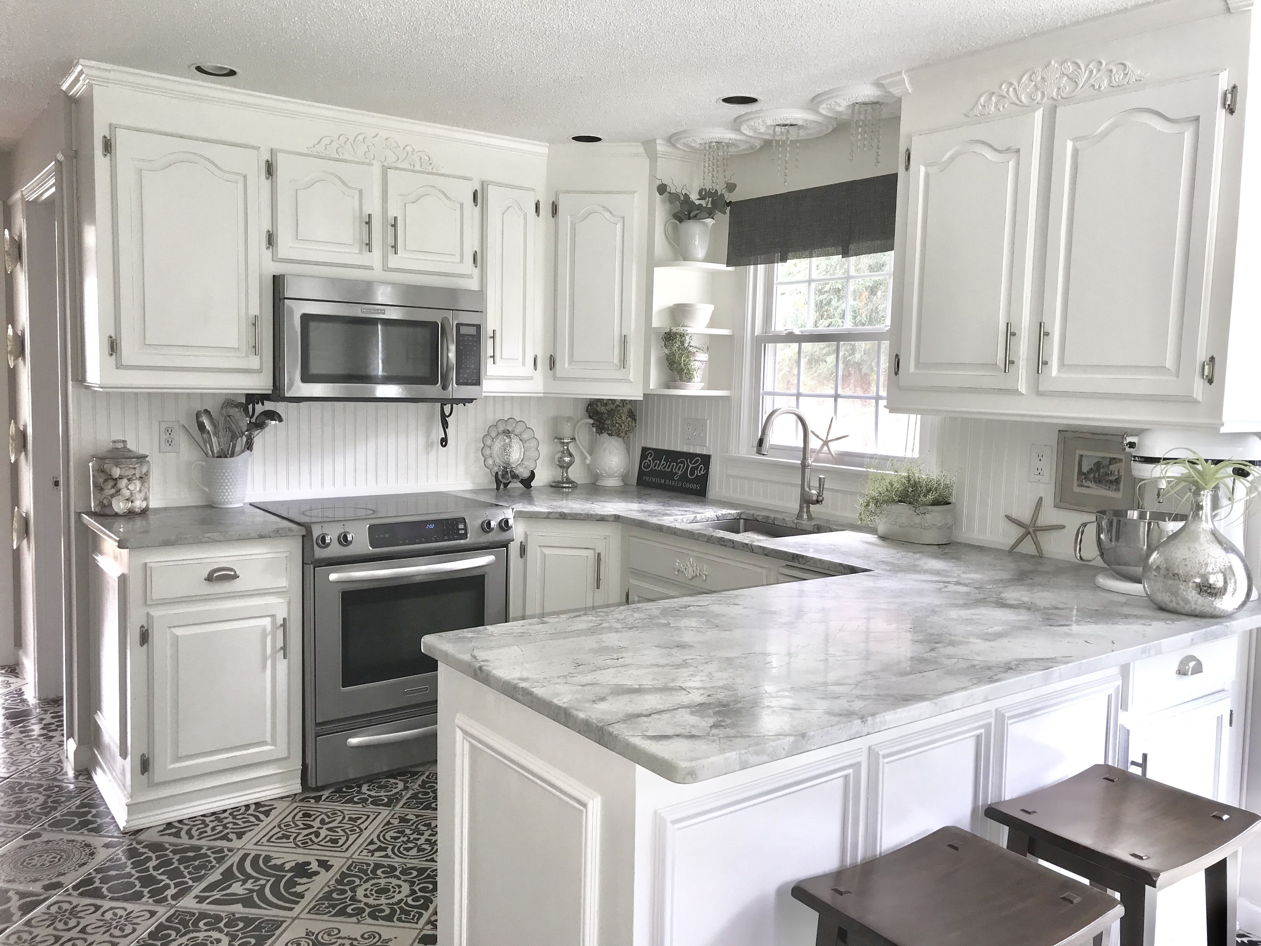 My White Kitchen That Was Once Old Oak Cabinets And Formica Counters Now It S Stylish And So Soothing To Be In Kitchen Redo Kitchen Old Kitchen