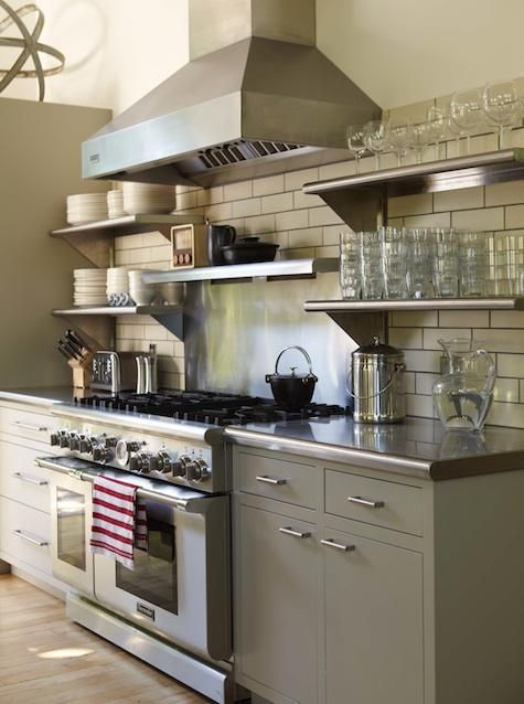 The Stainless Steel Shelving Coordinates Beautifully With Countertops Hood Range