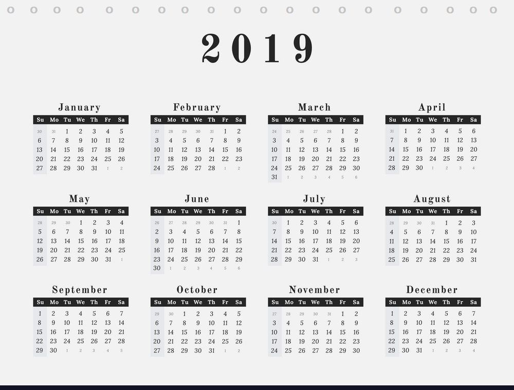 best  free desk calendar 2019 printable template download  with images