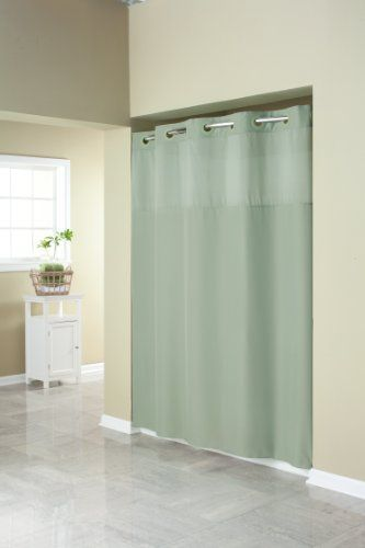 Hookless Rbh40my409 Fabric Shower Curtain With Built In Liner Sage