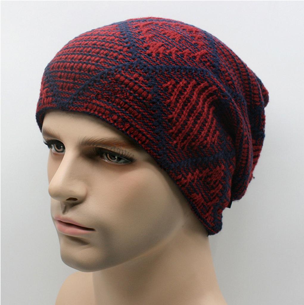 Knitted Plaid Beanie