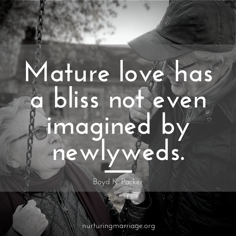 Mature love has a bliss not even imagined by newlyweds.