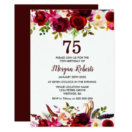 Burgundy Floral Elegant 75th Birthday Party Invite