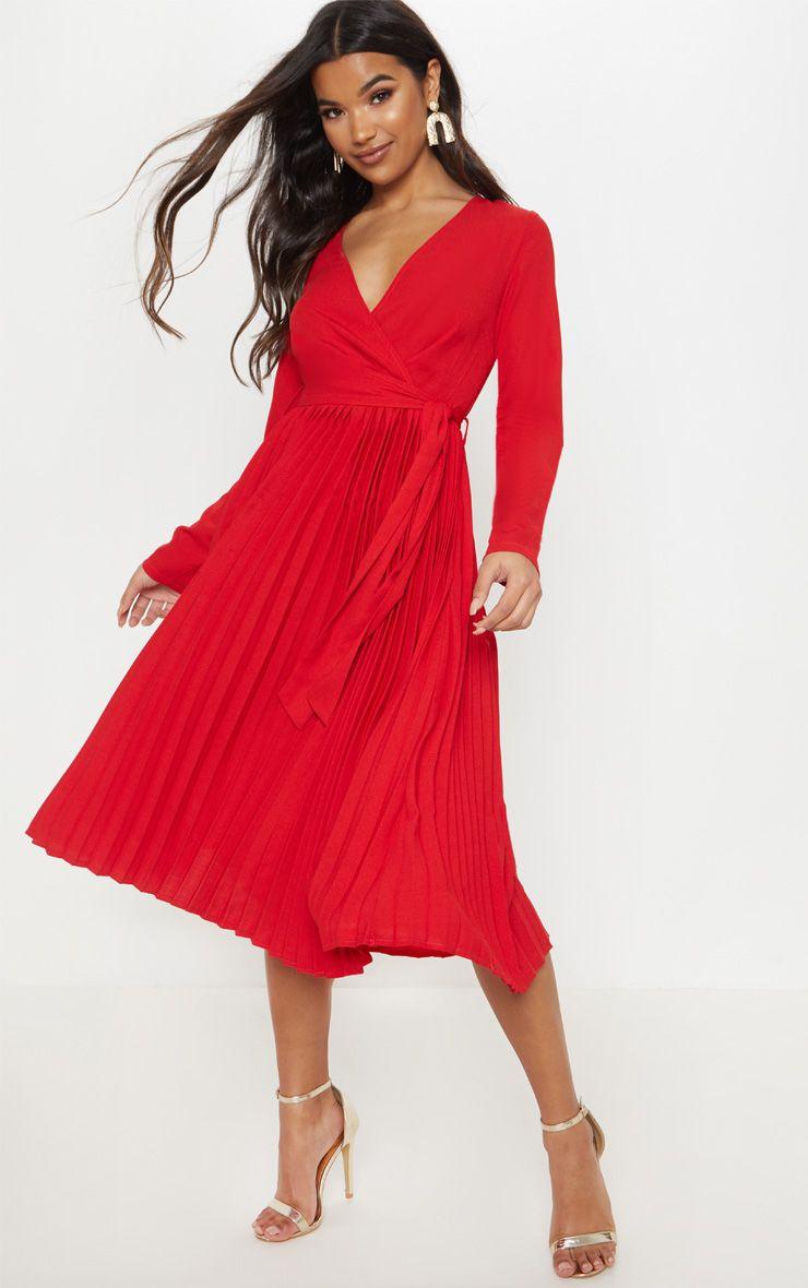 Red Long Sleeve Pleated Midi Dress Red Midi Dress Pleated Midi Dress Mid Length Dresses [ 1180 x 740 Pixel ]